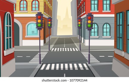 Vector city crossroads with traffic lights, intersection. Cartoon illustration of urban highway, street crosswalk. Town buildings view, architecture background.