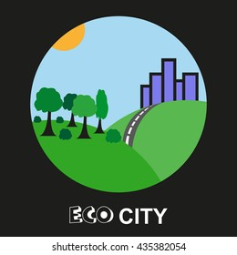 Vector of city and forest symbol or icon