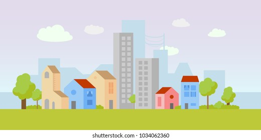 Vector city illustration with both small houses and high-rise apartment buildings. Simple, clean design. Light colors. Each building isolated, so can be moved.