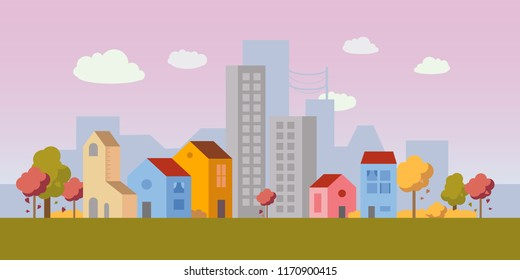 Vector city illustration with both small houses and high-rise apartment buildings in autumn. Simple clean design. Each building isolated, so can be moved.