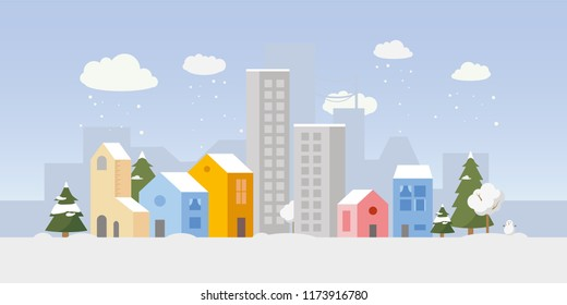Vector city illustration with both small houses and high-rise apartment buildings in winter. Simple clean design. Each building isolated, so can be moved.