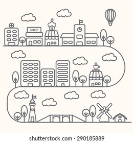 Vector city illustration in linear style, buildings and clouds design template. vector illustration