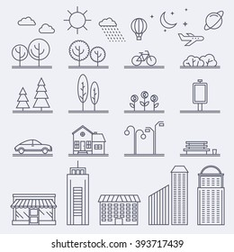 Vector city illustration in linear style. Icons and illustrations with buildings, houses and architecture signs. Ideal for business web publications, graphic design. Flat style vector illustration.