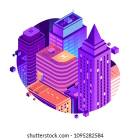 Vector City isometric concept isolated on white background. High-rise city buildings in gradient colors. Modern metropolis illustration. Business center with skyscrapers and apartment buildings.