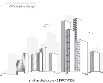 Vector city landscape background. City panorama. Town landscape with high skyscrapers. Architecture of buildings. City skyline design. Illustration for use brochure, flyer, poster and cover.