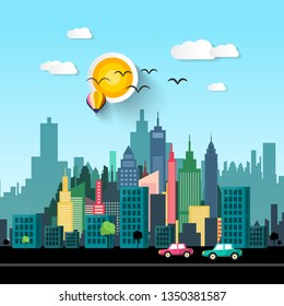 Vector City Life Flat Design Illustration with Cars on Street and Skyscrapers Skyline on Background