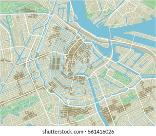 Vector city map of Amsterdam with well organized separated layers.