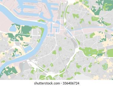 vector city map of Antwerp, Belgium
