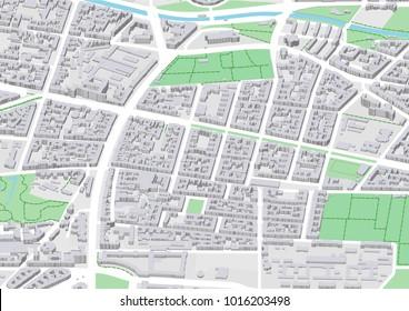 vector city map of Berlin neighbourhood Bergmannkiez in Kreuzberg district