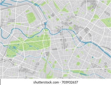 Vector city map of Berlin with well organized separated layers.