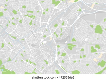 vector city map of Birmingham, United Kingdom