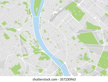 vector city map of Budapest, Hungary