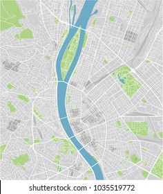 Vector city map of Budapest with well organized separated layers.