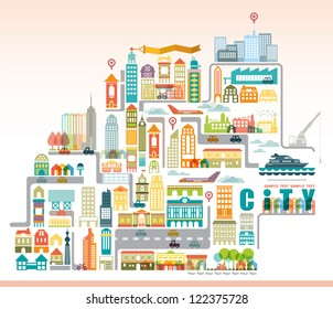 Vector city map with building.