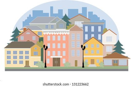 Vector city map with building