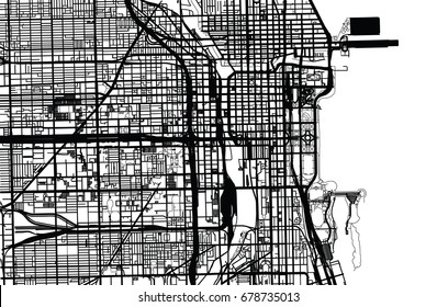 Vector city map of Chicago,