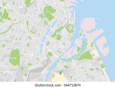 vector city map of Copenhagen, Denmark