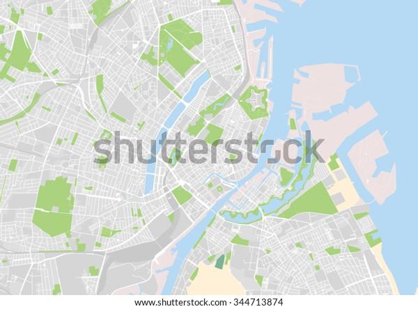 Vektor Bykort Over Kobenhavn Danmark Lagervektor Royaltyfri