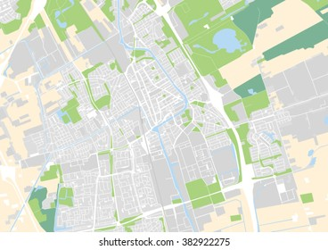 vector city map of Delft, Netherlands
