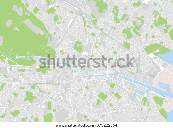 Vektori Kaupungin Kartta Dublin Irlanti Arkistovektori