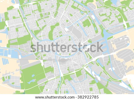 Vector City Map Groningen Netherlands Stock Vector (Royalty Free ...