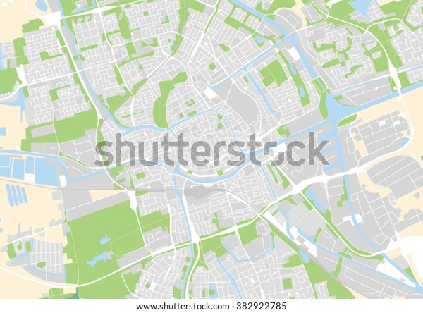 Vector City Map Groningen Netherlands Stock Vector (Royalty ...