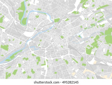 vector city map of Manchester, United Kingdom