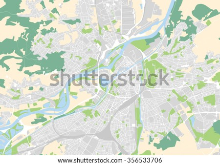 Vector City Map Metz France Stock Vector Royalty Free 356533706