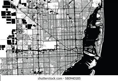 Vector city map of Miami, Florida