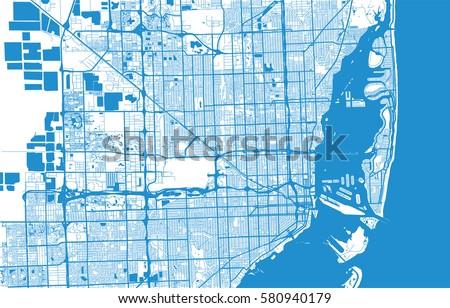 Map Of Miami Florida.Vector City Map Miami Florida Stock Vector Royalty Free 580940179
