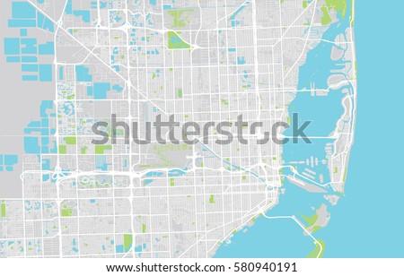Map Of Miami Florida.Vector City Map Miami Florida Stock Vector Royalty Free 580940191