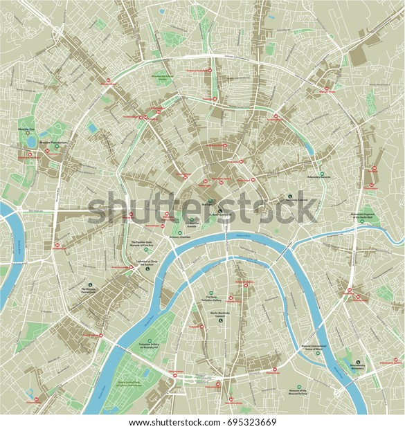 Vector City Map Moscow Well Organized Stock Vector (Royalty ...