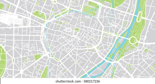 Vector city map of Munich, Germany