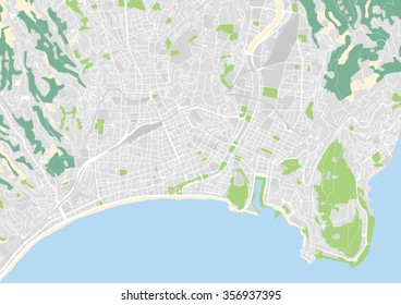 vector city map of Nice, France