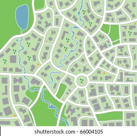 vector city map pattern with streets, forest, lake and symbols