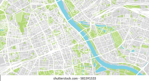 Vector city map of Warsaw, Poland