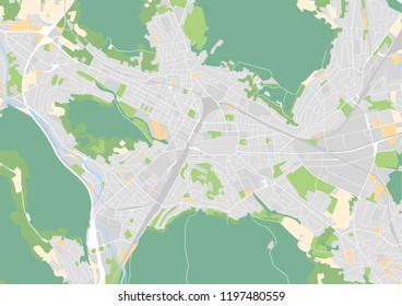 Vector city map of Winterthur, Switzerland