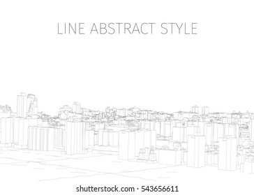 vector city painted lines on a white background