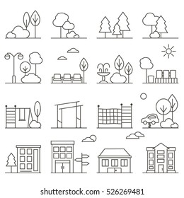 Vector City and Park Illustration in Linear Style - buildings, seesaw, rope ladder, playground and trees. Thin line art icons.