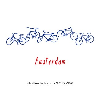 Vector city poster of Amsterdam with hand drawn bicycles.