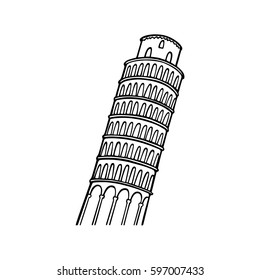 Vector city poster of Pisa. Hand drawn leaning tower of Pisa connected with city name by line. Beautiful travel design elements.
