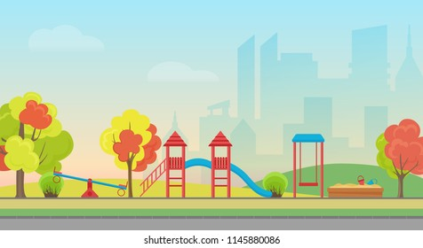 Vector city public park with kids playground entertainment on the modern city skyscrapers background. Autumn public city park with colorful seasonal trees.
