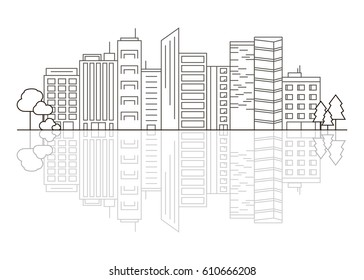 Vector City with Reflection Illustration in Linear Style - buildings, skyscrapers and trees. Thin line art icons. City design elements for map.