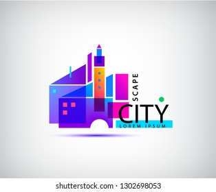 Vector city scape, real estate logo. Geometric abstract building composition, architecture, structure illustration
