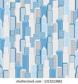 Vector city seamless pattern. Vector city panorama. background building