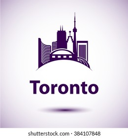 Vector city skyline with landmarks Toronto Ontario Canada. Vector illustration can be used as logo