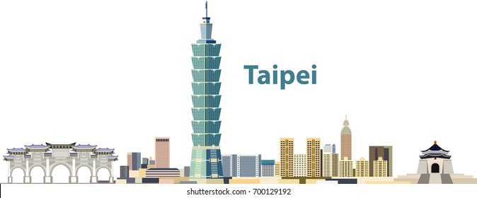 vector city skyline of Taipei
