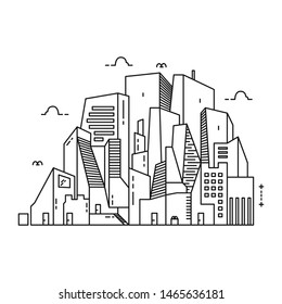 Vector of city skyline. Thin line City landscape. Downtown landscape with high skyscrapers. Panorama architecture City landscape template. Goverment buildings Isolated outline illustration