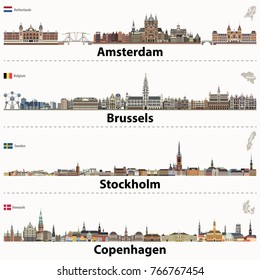 vector city skylines of Amsterdam, Brussels, Stockholm and Copenhagen. Flags and maps of Netherlands, Belgium, Sweden and Denmark