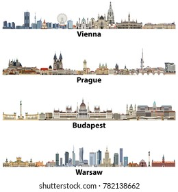 vector city skylines of Vienna, Prague, Budapest and Warsaw